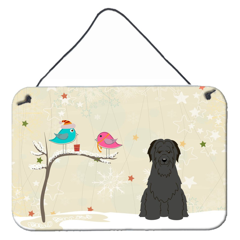 Buy this Christmas Presents between Friends Briard Black Wall or Door Hanging Prints BB2553DS812