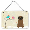 Buy this Christmas Presents between Friends Bullmastiff Wall or Door Hanging Prints BB2556DS812