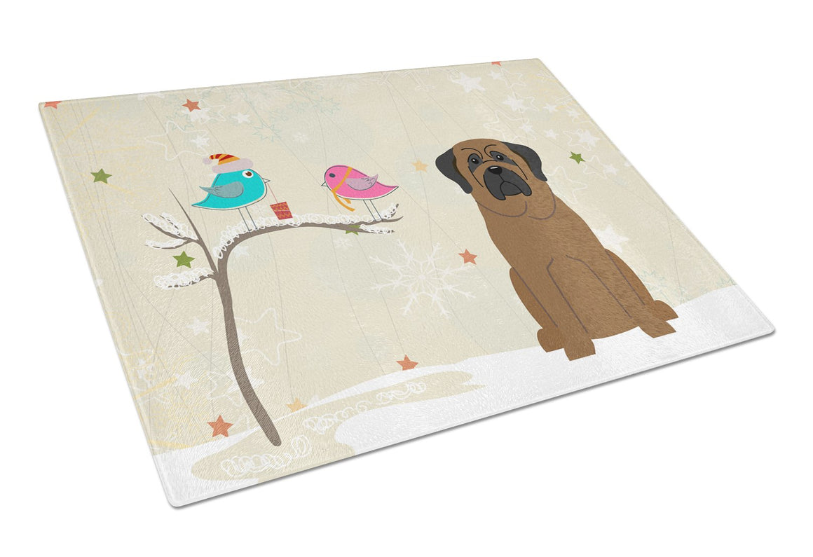 Buy this Christmas Presents between Friends Bullmastiff Glass Cutting Board Large BB2556LCB