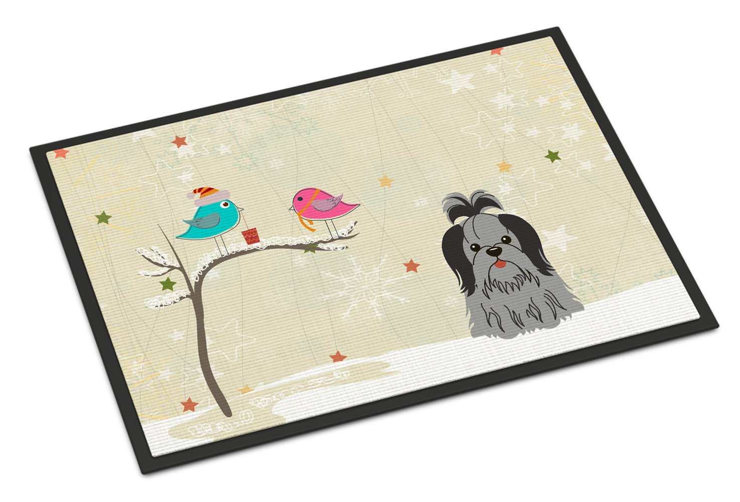 Christmas Presents between Friends Shih Tzu Black Silver Indoor or Outdoor Mat 24x36 BB2561JMAT - the-store.com