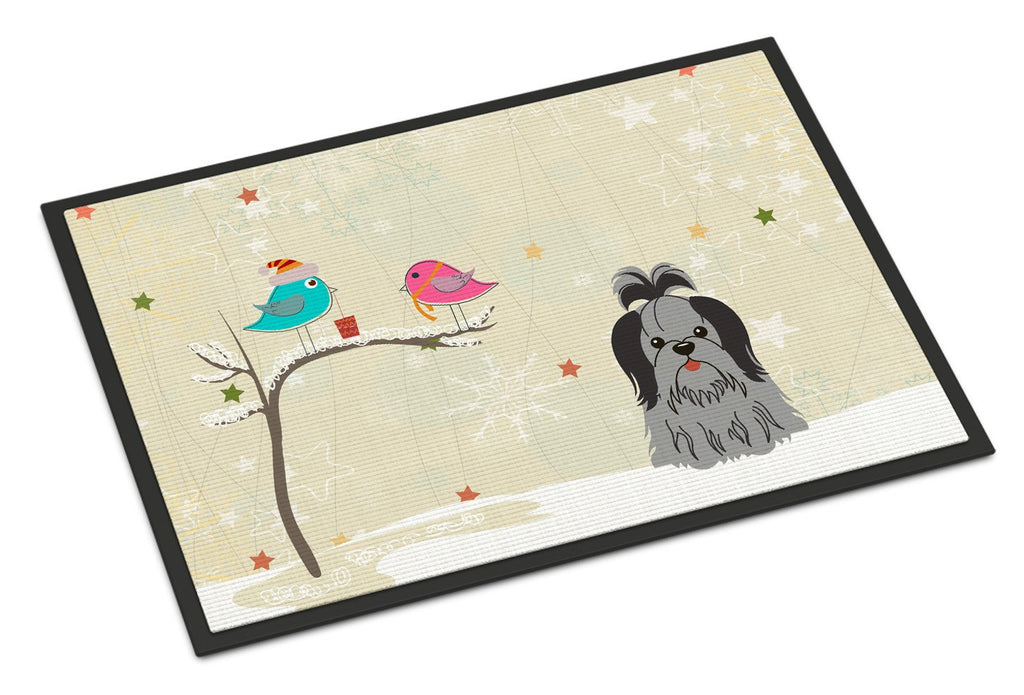 Buy this Christmas Presents between Friends Shih Tzu Black Silver Indoor or Outdoor Mat 18x27 BB2561MAT