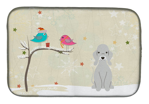Buy this Christmas Presents between Friends Bedlington Terrier Blue Dish Drying Mat BB2562DDM