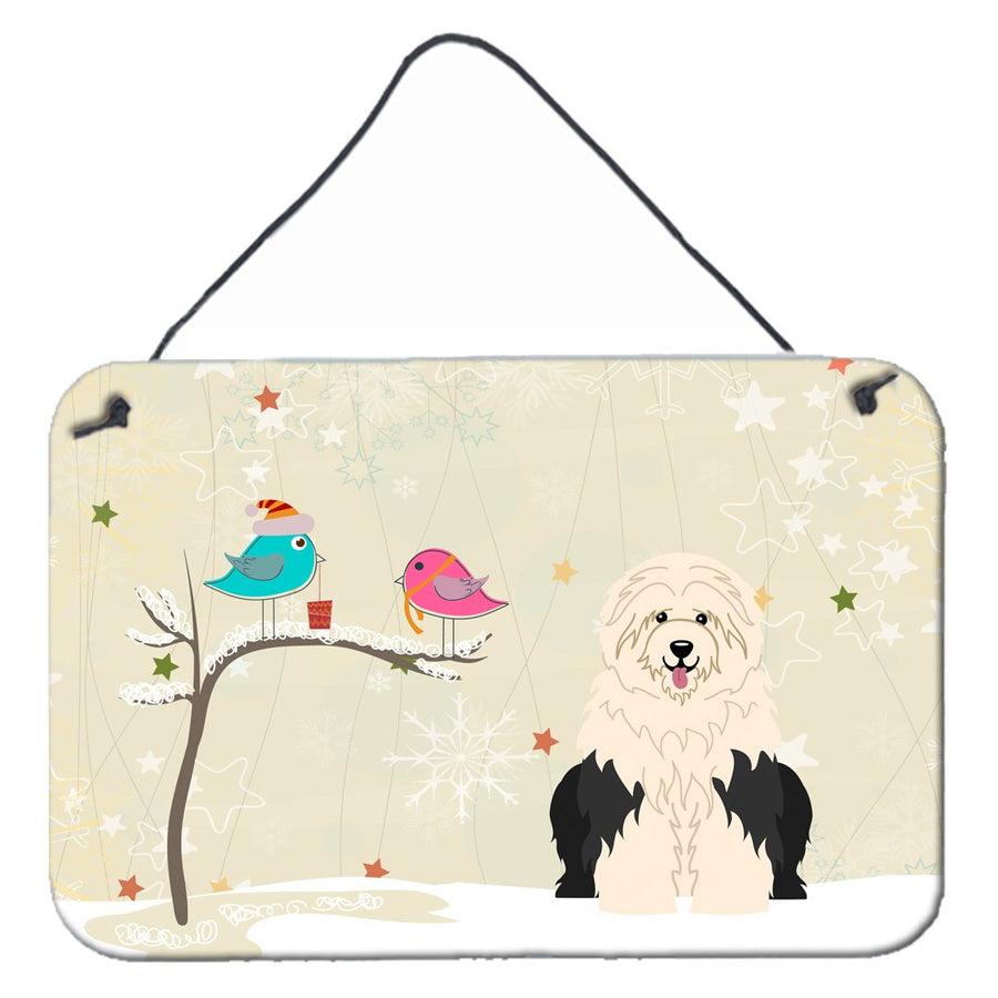 Buy this Christmas Presents between Friends Old English Sheepdog Wall or Door Hanging Prints BB2568DS812