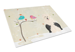 Buy this Christmas Presents between Friends Old English Sheepdog Glass Cutting Board Large BB2568LCB