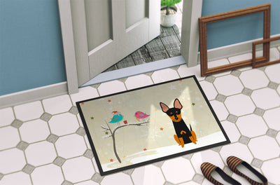 Christmas Presents between Friends English Toy Terrier Indoor or Outdoor Mat 24x36 BB2581JMAT - the-store.com
