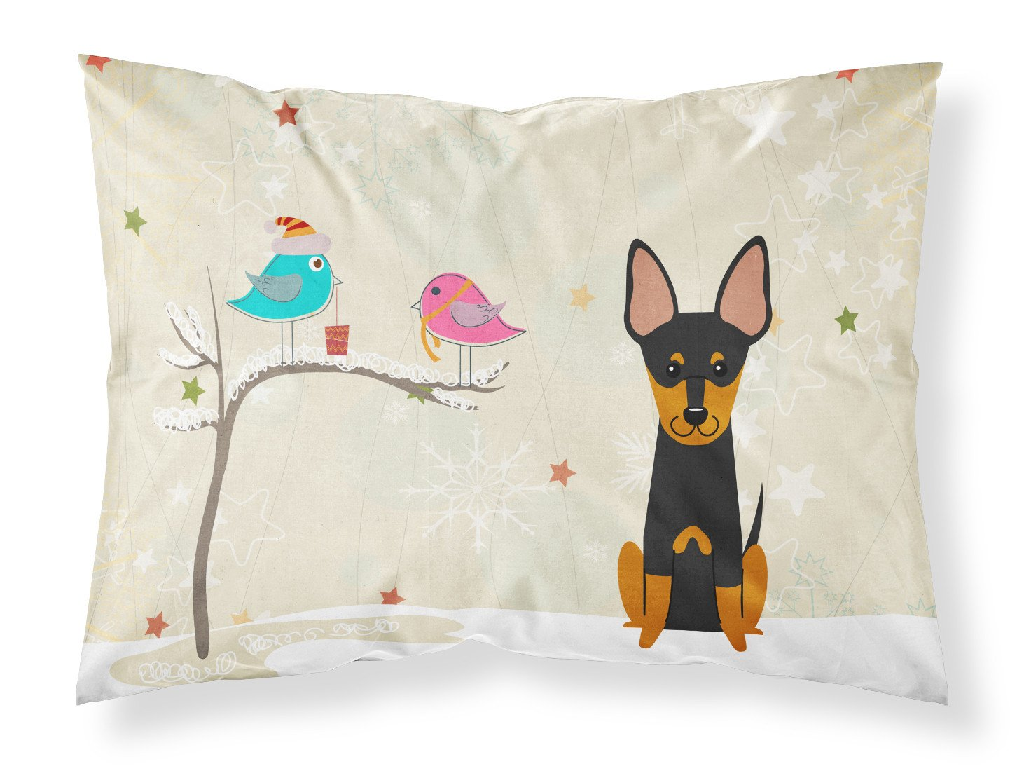 Christmas Presents between Friends English Toy Terrier Fabric Standard Pillowcase BB2581PILLOWCASE by Caroline's Treasures