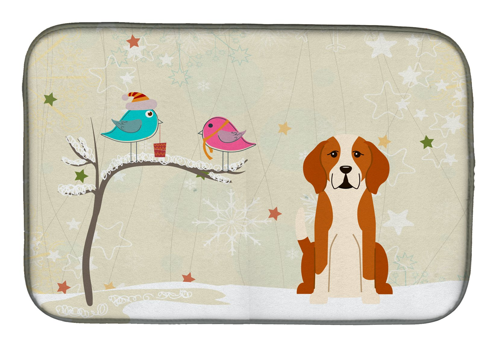 Christmas Presents between Friends English Foxhound Dish Drying Mat BB2582DDM by Caroline's Treasures
