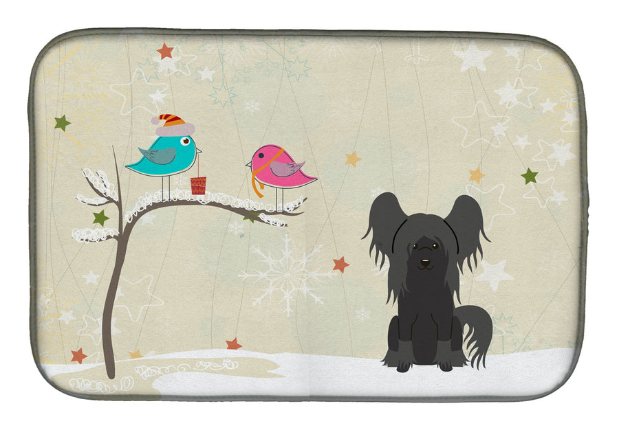 Buy this Christmas Presents between Friends Chinese Crested Black Dish Drying Mat BB2584DDM
