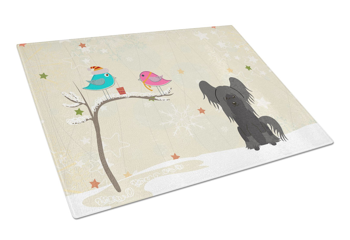 Buy this Christmas Presents between Friends Chinese Crested Black Glass Cutting Board Large BB2584LCB