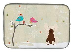 Buy this Christmas Presents between Friends Chinese Crested Cream Dish Drying Mat BB2585DDM