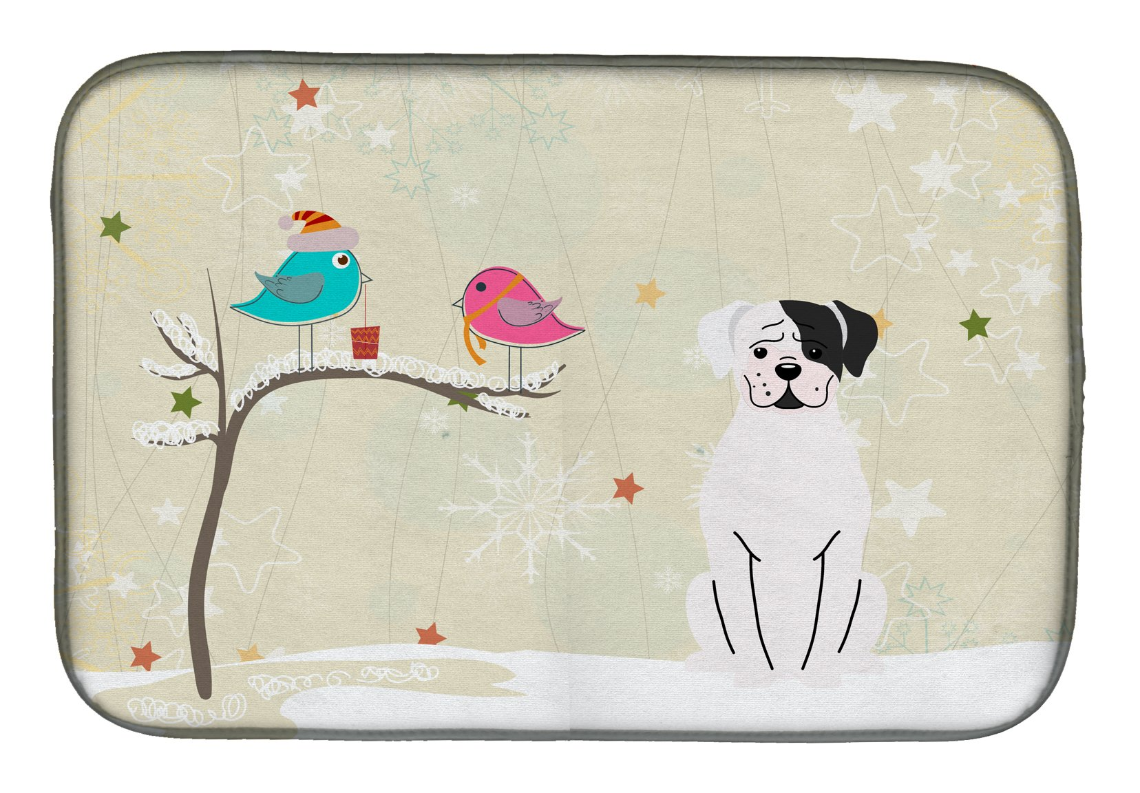 Buy this Christmas Presents between Friends White Boxer Cooper Dish Drying Mat BB2586DDM