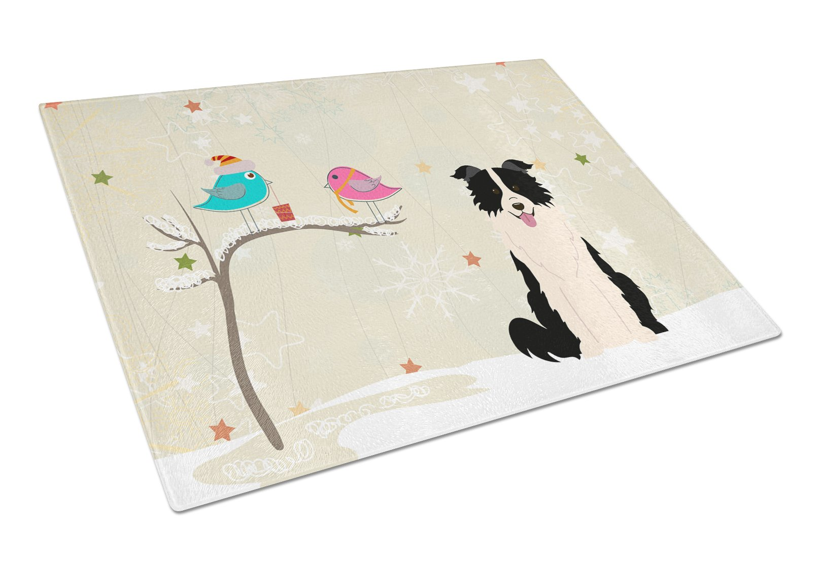 Christmas Presents between Friends Border Collie Black White Glass Cutting Board Large BB2590LCB by Caroline's Treasures