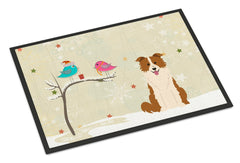 Buy this Christmas Presents between Friends Border Collie Red White Indoor or Outdoor Mat 24x36 BB2591JMAT