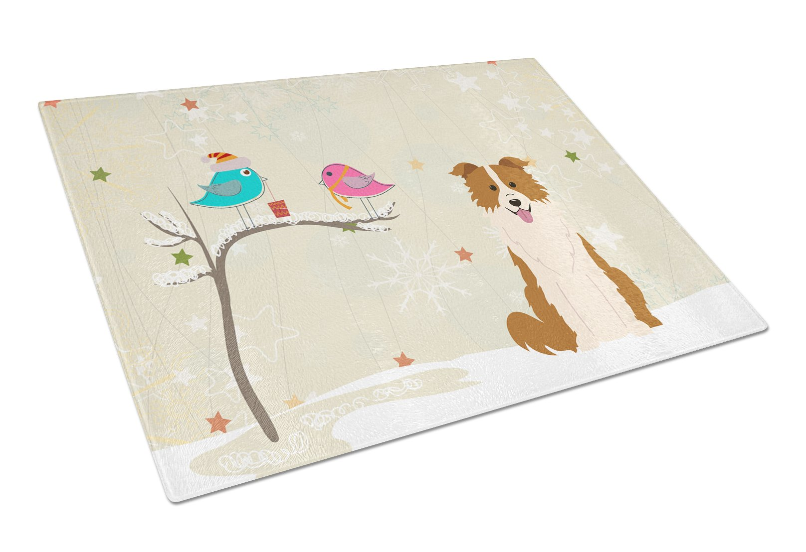 Christmas Presents between Friends Border Collie Red White Glass Cutting Board Large BB2591LCB by Caroline's Treasures
