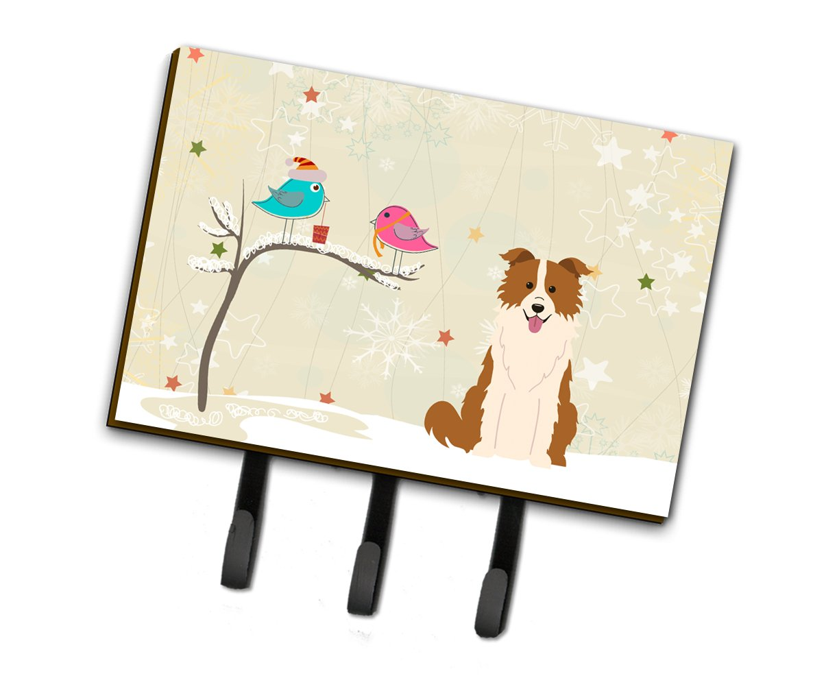 Buy this Christmas Presents between Friends Border Collie Red White Leash or Key Holder BB2591TH68