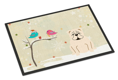 Christmas Presents between Friends English Bulldog White Indoor or Outdoor Mat 24x36 BB2595JMAT - the-store.com