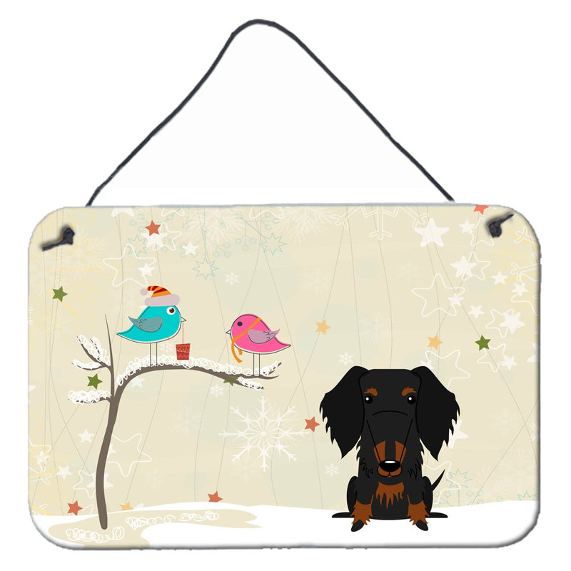 Buy this Christmas Presents between Friends Wire Haired Dachshund Black Tan Wall or Door Hanging Prints BB2599DS812