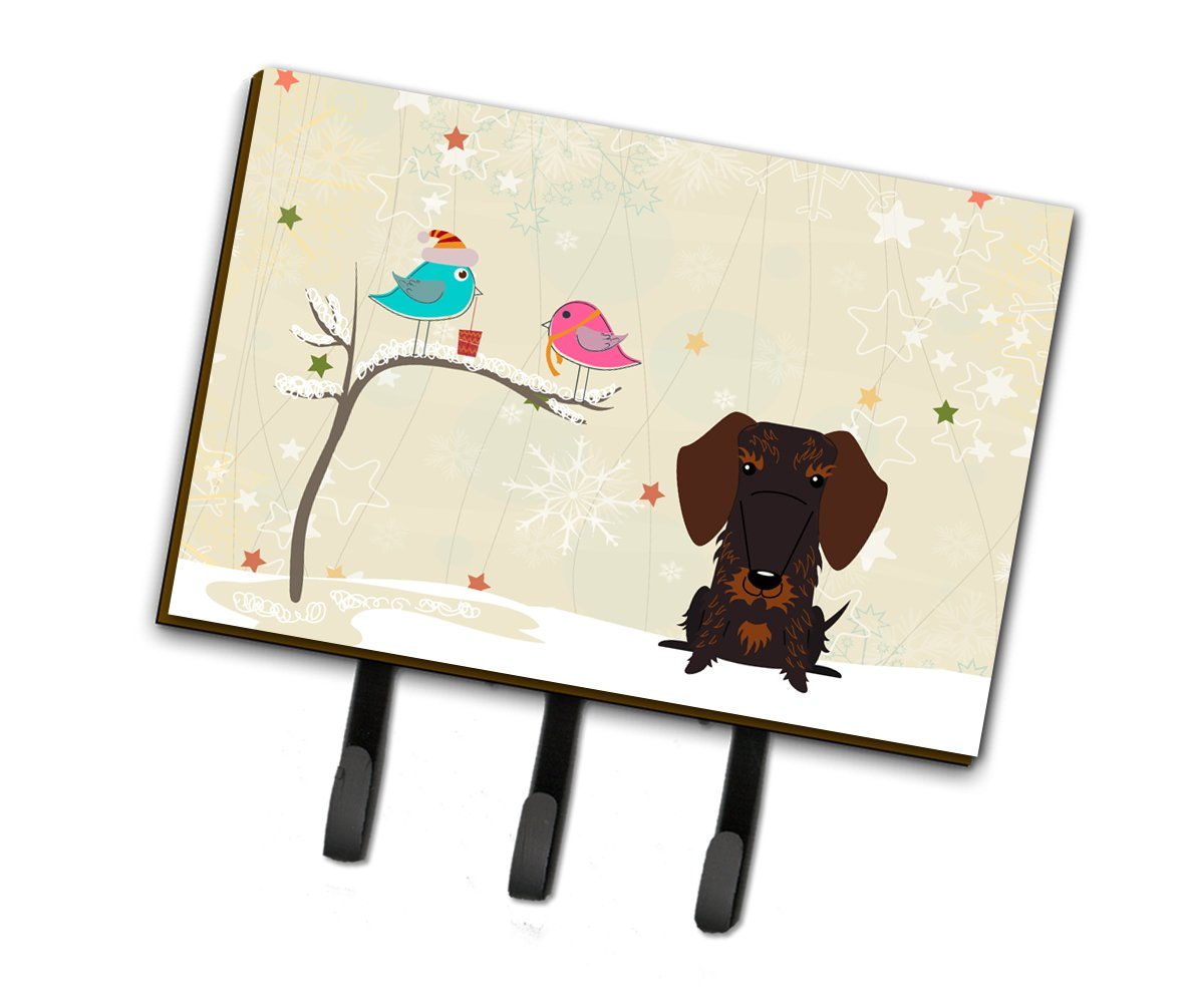Buy this Christmas Presents between Friends Wire Haired Dachshund Chocolate Leash or Key Holder BB2601TH68