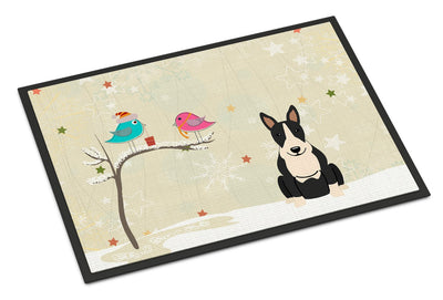 Christmas Presents between Friends Bull Terrier Black White Indoor or Outdoor Mat 24x36 BB2605JMAT - the-store.com