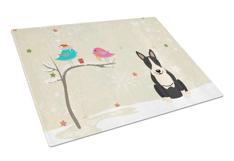 Buy this Christmas Presents between Friends Bull Terrier Black White Glass Cutting Board Large BB2605LCB