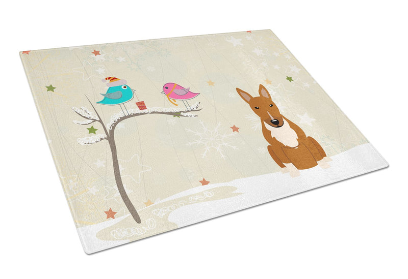 Buy this Christmas Presents between Friends Bull Terrier Red Glass Cutting Board Large BB2606LCB