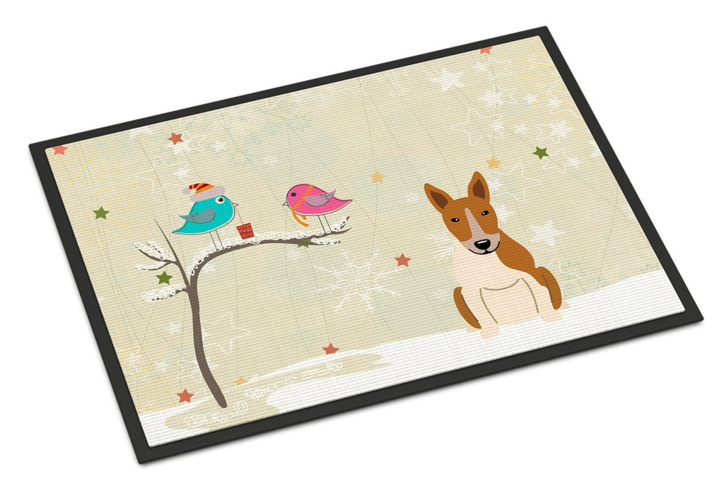Buy this Christmas Presents between Friends Bull Terrier Red White Indoor or Outdoor Mat 24x36 BB2607JMAT