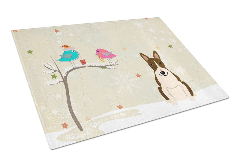 Buy this Christmas Presents between Friends Bull Terrier Dark Brindle Glass Cutting Board Large BB2608LCB