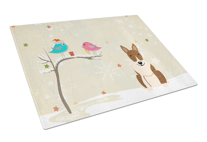 Buy this Christmas Presents between Friends Bull Terrier Brindle Glass Cutting Board Large BB2609LCB