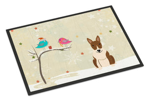 Buy this Christmas Presents between Friends Bull Terrier Brindle Indoor or Outdoor Mat 18x27 BB2609MAT