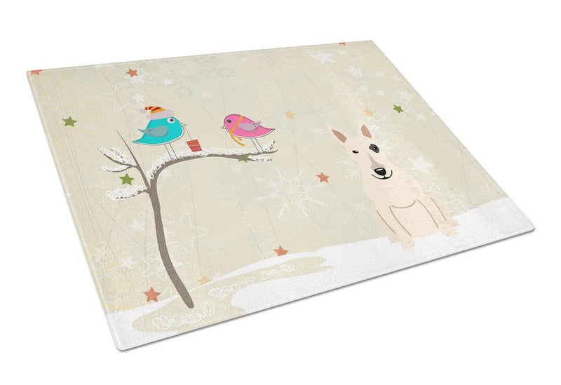 Buy this Christmas Presents between Friends Bull Terrier White Glass Cutting Board Large BB2610LCB