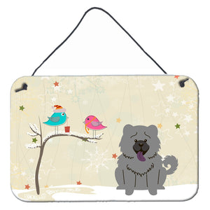 Buy this Christmas Presents between Friends Chow Chow Blue Wall or Door Hanging Prints BB2611DS812
