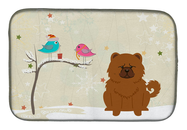 Christmas Presents between Friends Chow Chow Red Dish Drying Mat BB2614DDM 1