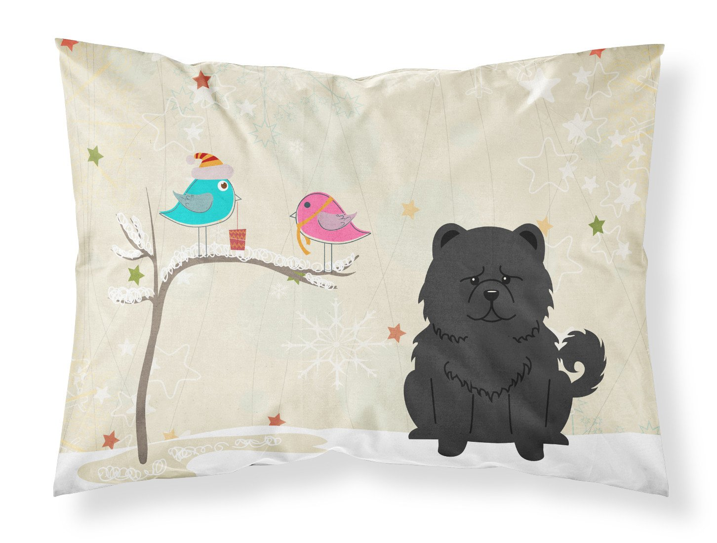 Christmas Presents between Friends Chow Chow Black Fabric Standard Pillowcase BB2615PILLOWCASE by Caroline's Treasures