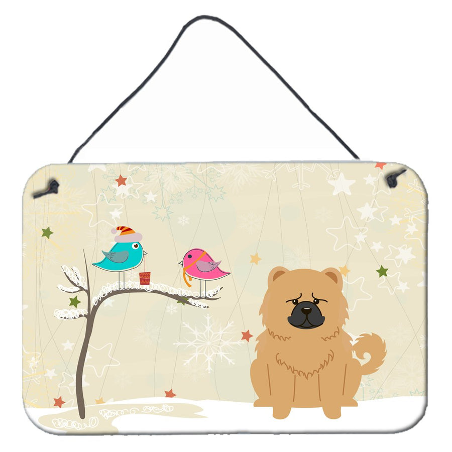 Buy this Christmas Presents between Friends Chow Chow Cream Wall or Door Hanging Prints BB2616DS812