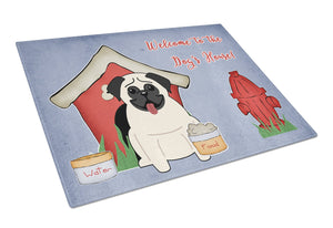 Buy this Dog House Collection Pug Cream Glass Cutting Board Large BB2758LCB