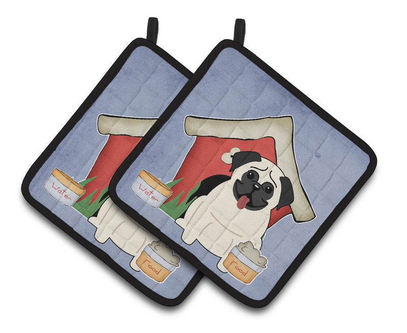 Buy this Dog House Collection Pug Cream Pair of Pot Holders BB2758PTHD