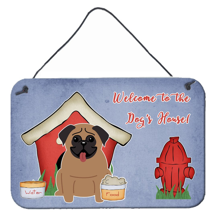 Buy this Dog House Collection Pug Brown Wall or Door Hanging Prints BB2759DS812