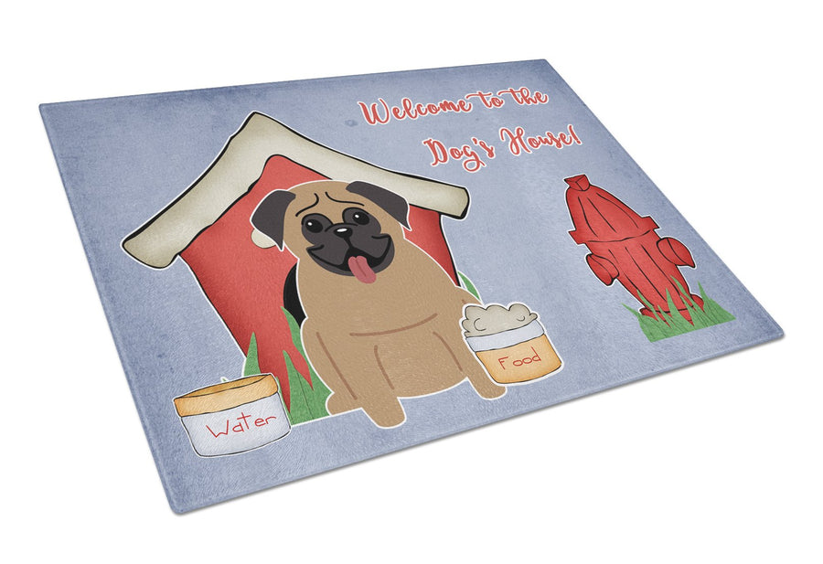Buy this Dog House Collection Pug Brown Glass Cutting Board Large BB2759LCB