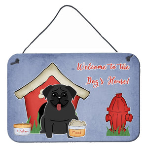 Buy this Dog House Collection Pug Black Wall or Door Hanging Prints BB2760DS812