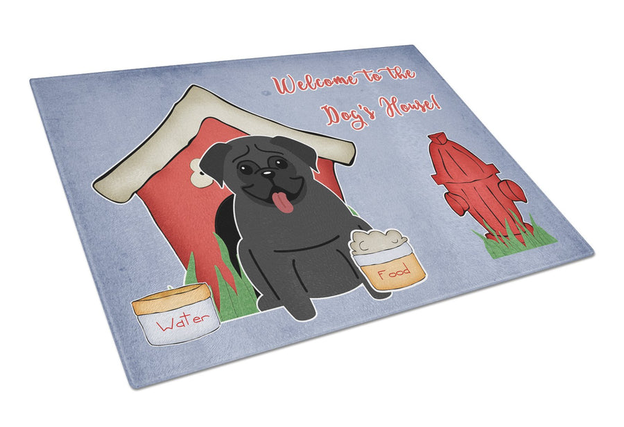 Buy this Dog House Collection Pug Black Glass Cutting Board Large BB2760LCB