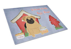 Buy this Dog House Collection Pug Brown Glass Cutting Board Large BB2761LCB
