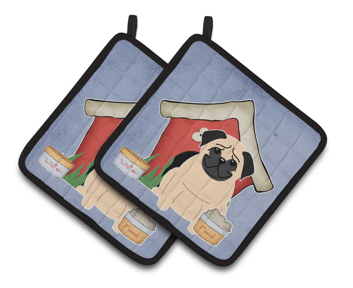 Buy this Dog House Collection Pug Fawn Pair of Pot Holders BB2762PTHD