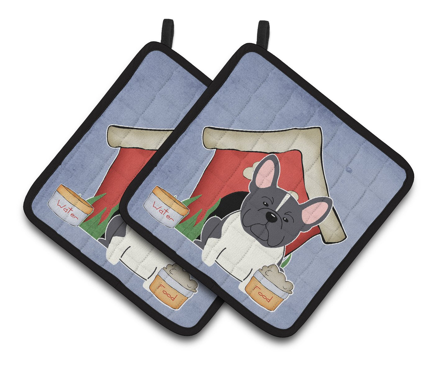 Buy this Dog House Collection French Bulldog Black White Pair of Pot Holders BB2766PTHD