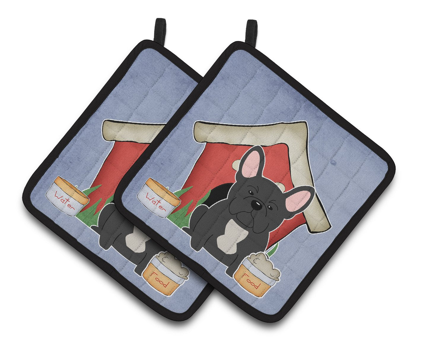 Buy this Dog House Collection French Bulldog Black Pair of Pot Holders