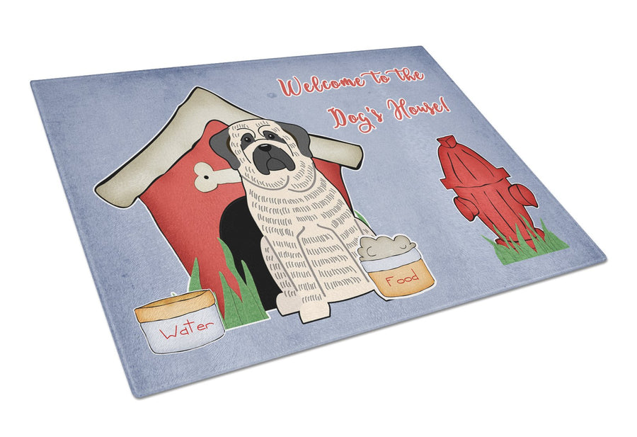 Buy this Dog House Collection Mastiff Brindle White Glass Cutting Board Large BB2770LCB