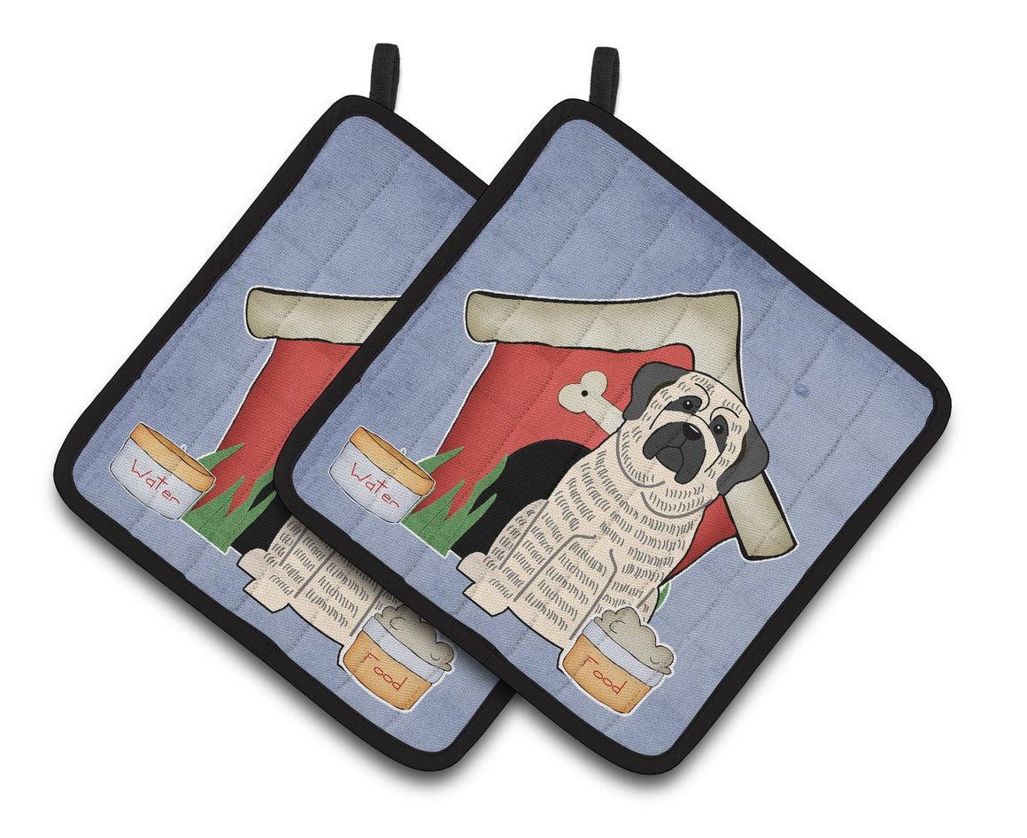 Buy this Dog House Collection Mastiff Brindle White Pair of Pot Holders