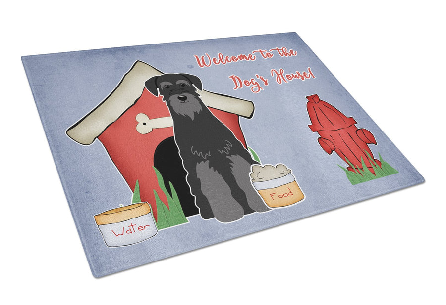 Buy this Dog House Collection Standard Schnauzer Black Glass Cutting Board Large BB2786LCB