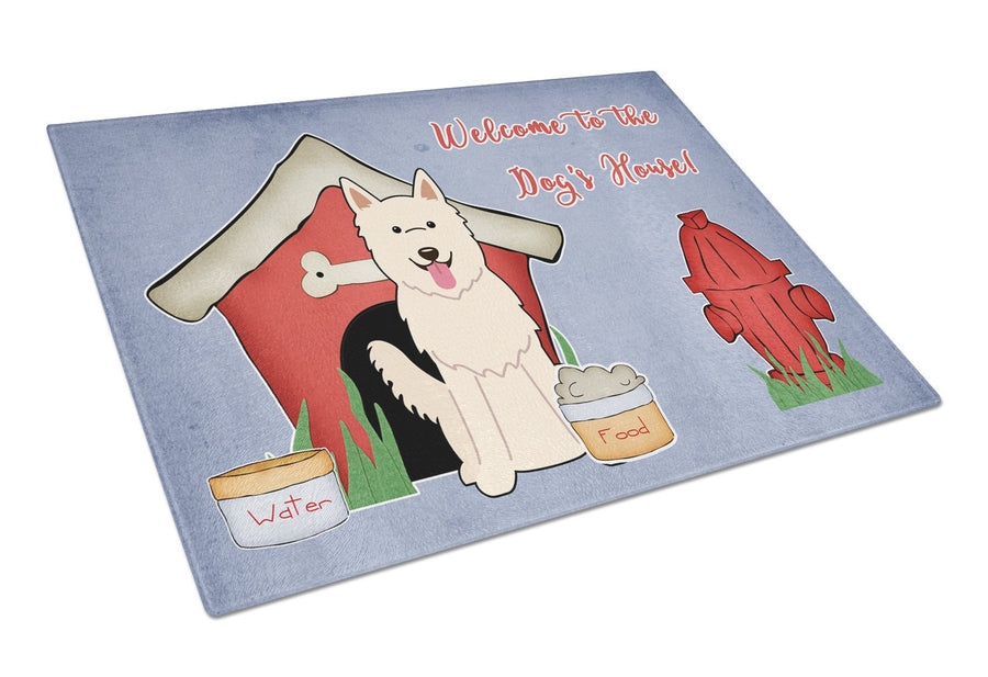 Buy this Dog House Collection White German Shepherd Glass Cutting Board Large BB2799LCB