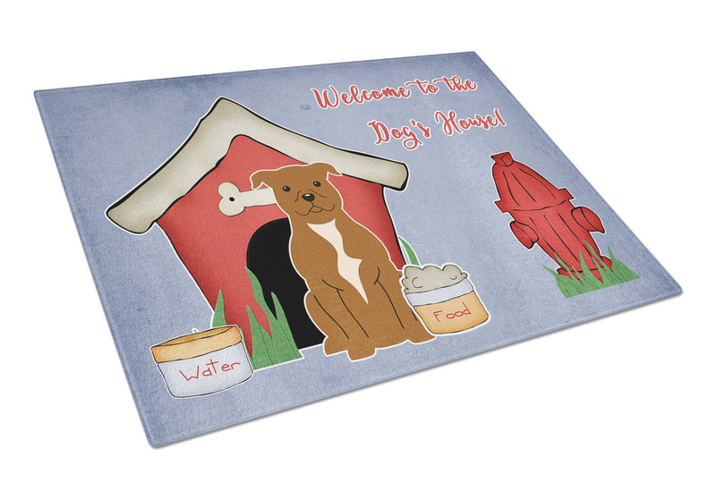Buy this Dog House Collection Staffordshire Bull Terrier Brown Glass Cutting Board Large BB2801LCB