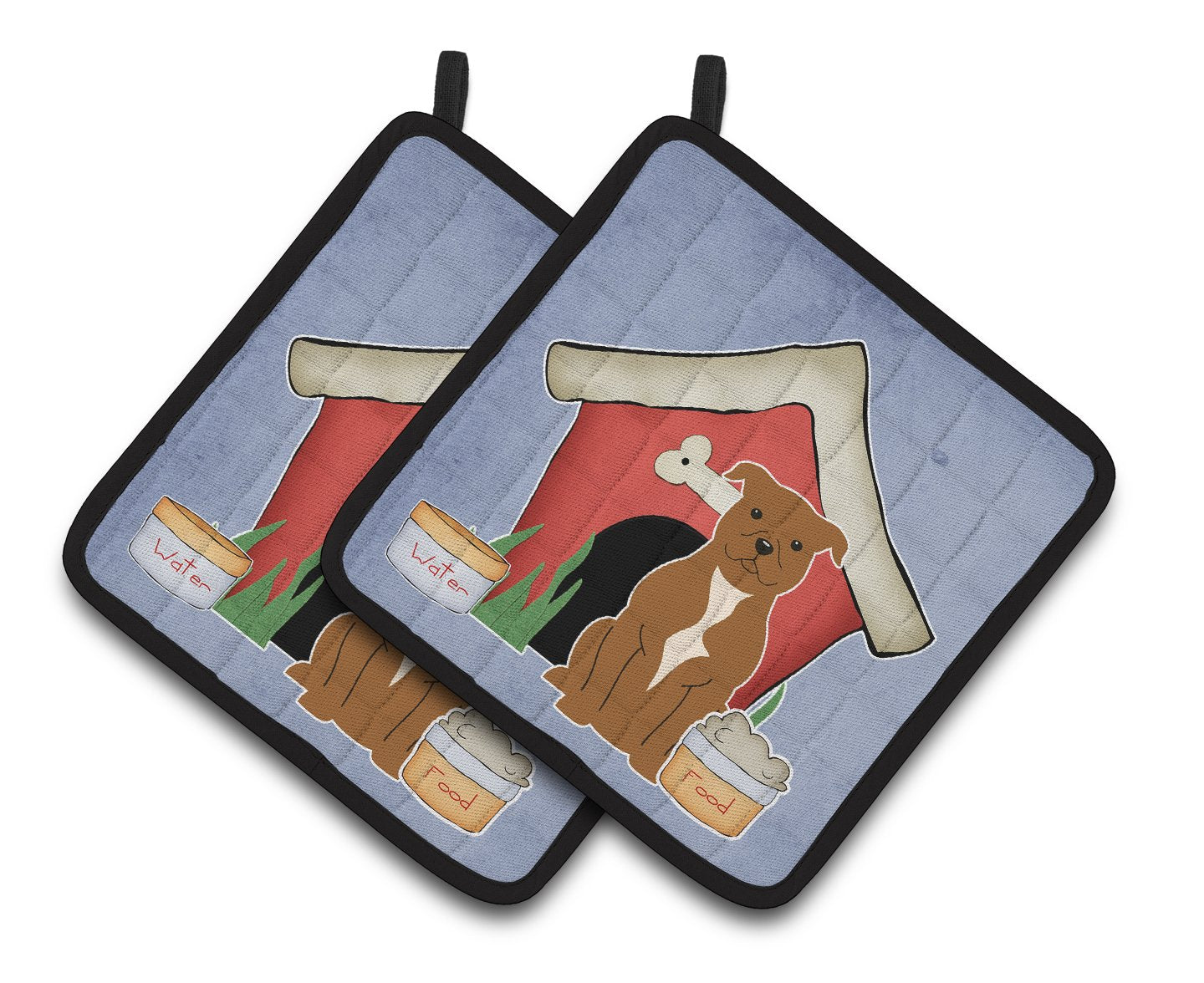 Buy this Dog House Collection Staffordshire Bull Terrier Brown Pair of Pot Holders